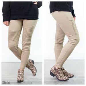 Pants - Khaki Soft Moto Jeggings